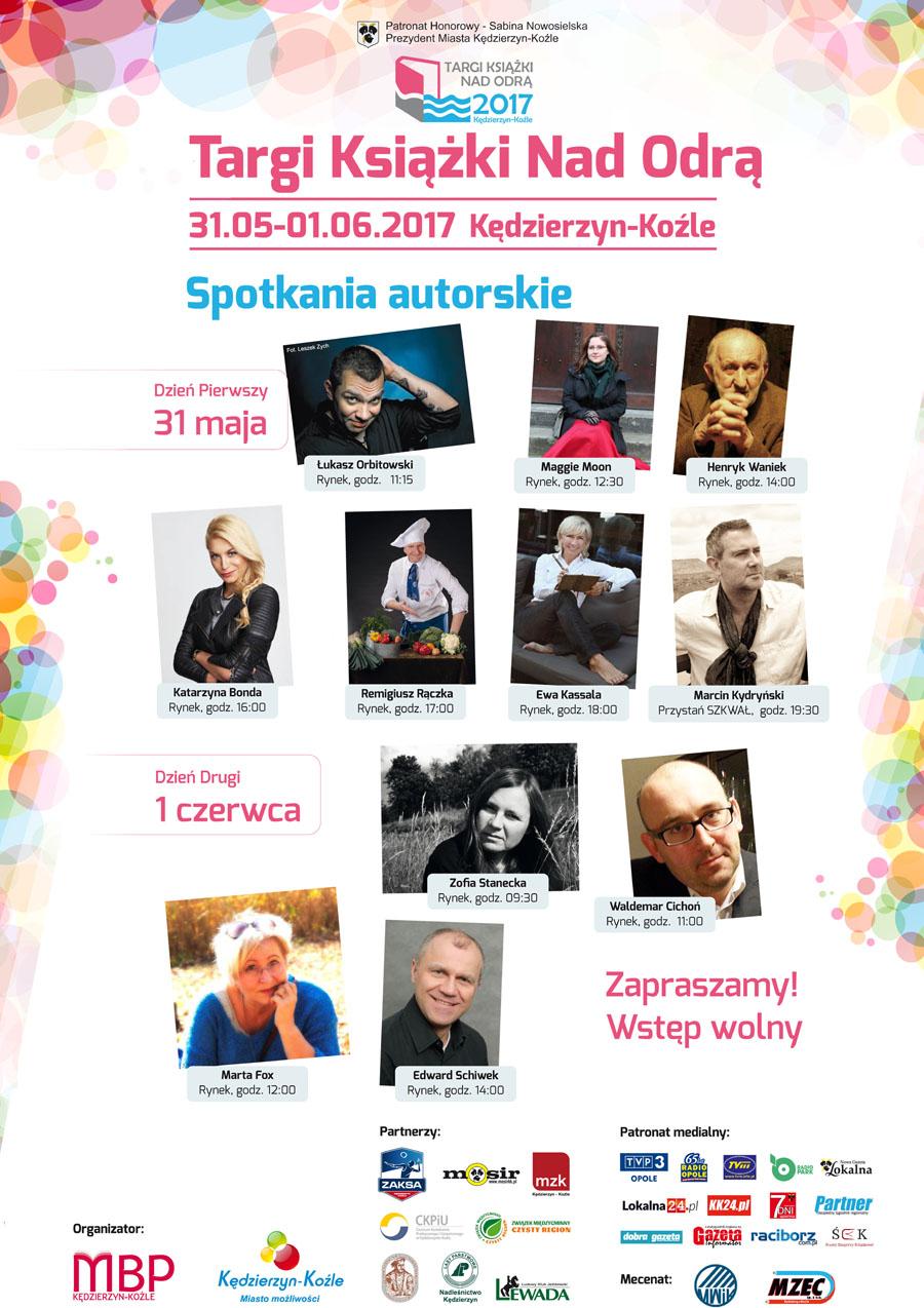 Spotkania autorskie w ramach Targów Książki Nad Odrą Kędzierzyn-Koźle 2017 Plakat