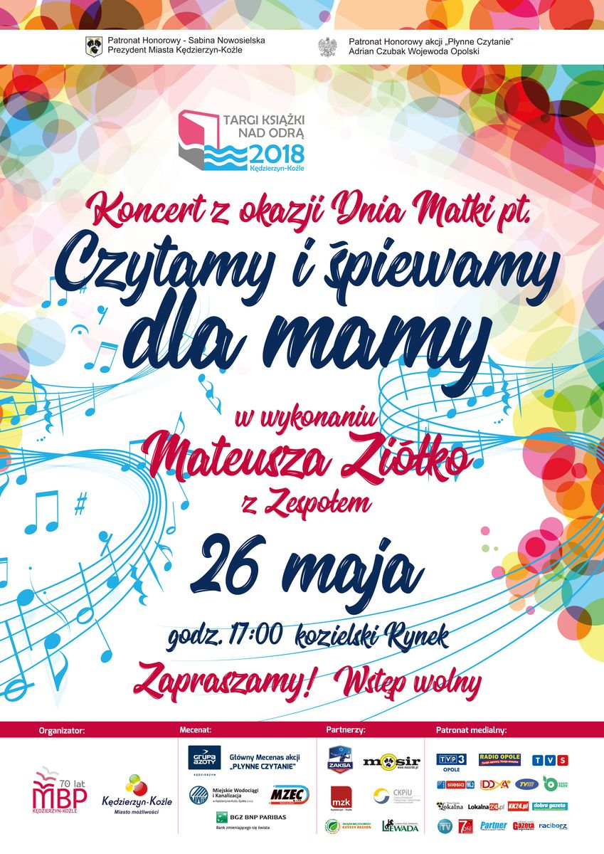 Koncert Mateusza Ziółko z okazji Dnia Matki Plakat