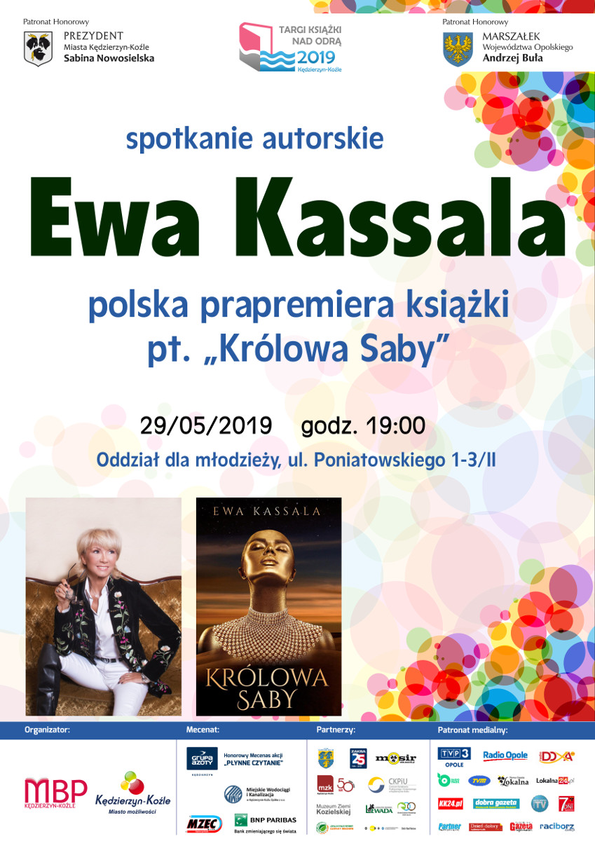 """Spotkanie z Ewą Kassalą - polska prapremiera książki pt. """"Królowa Saby"""" plakat"""