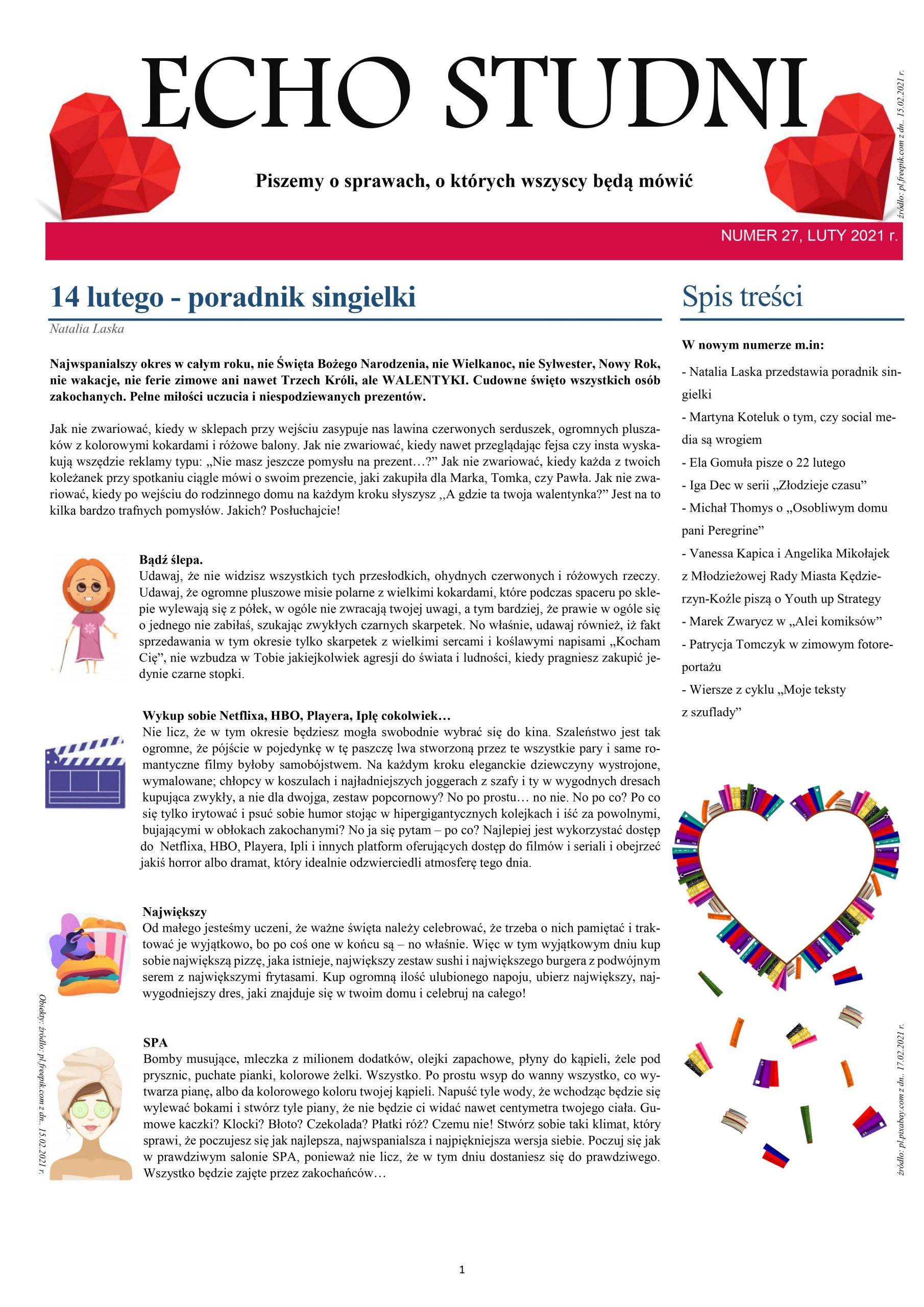 """Strona tytułowa czasopisma """"Echo Studni"""" nr 27"""