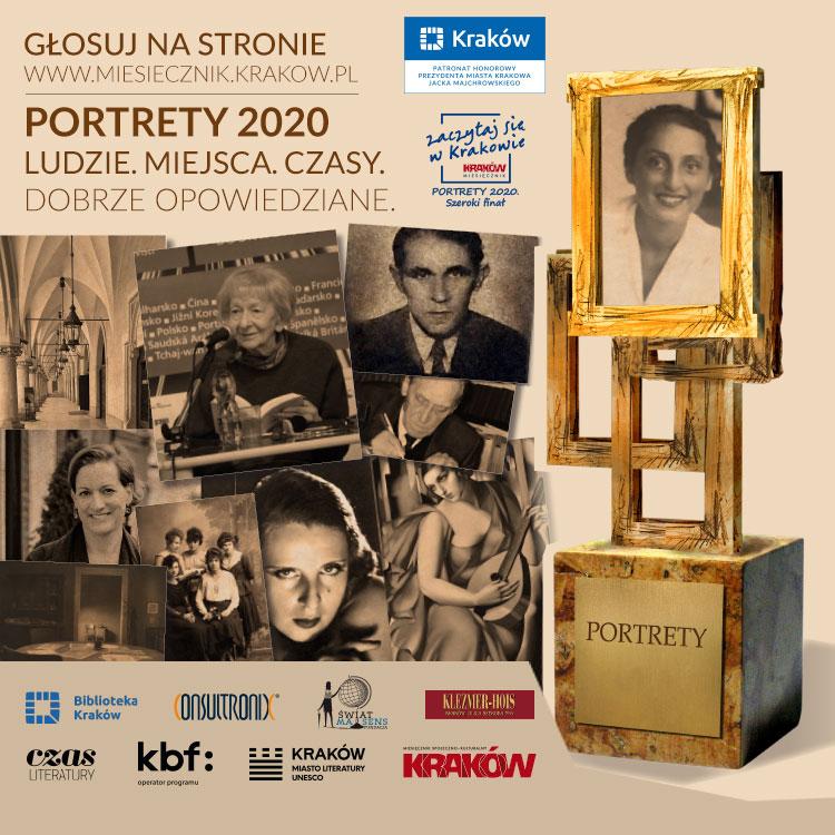 """Plakat konkursu II KONKURS """"PORTRETY"""" 2020, ZŁOTA DWUDZIESTKA"""