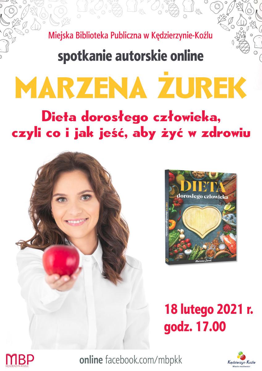 Plakat dotyczący spotkania pt. Dieta dorosłego człowieka z Marzeną Żurek