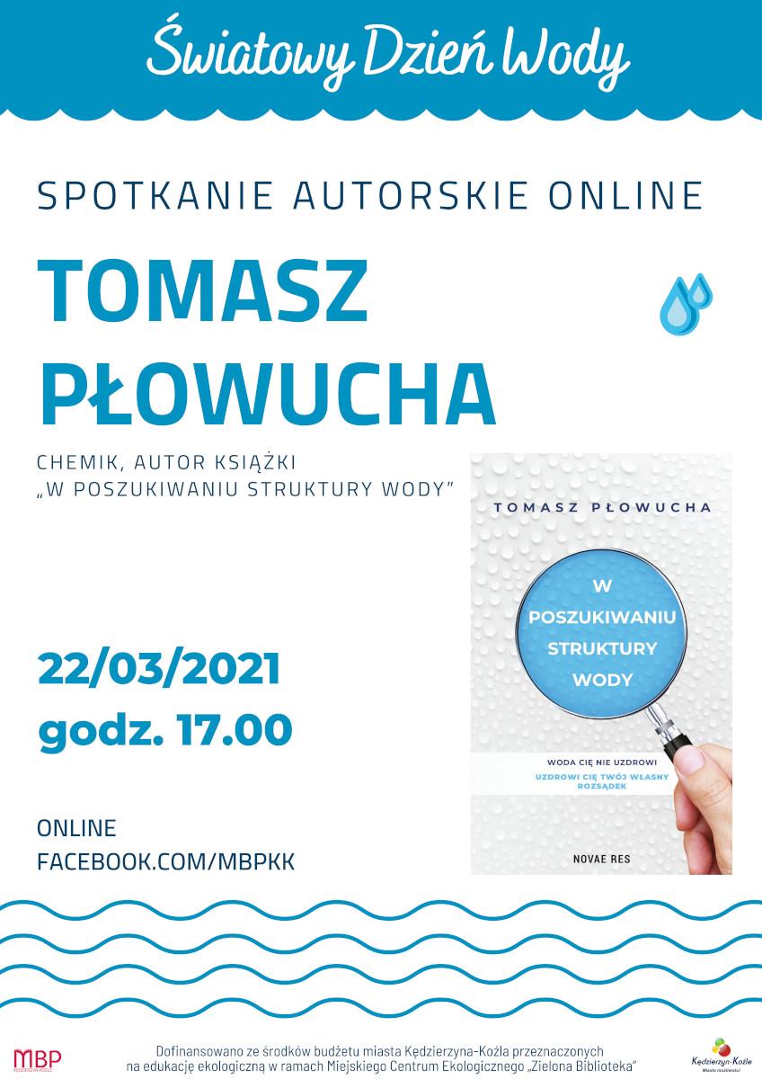 Plakat wydarzenia - spotkanie z Tomaszem Płowuchą