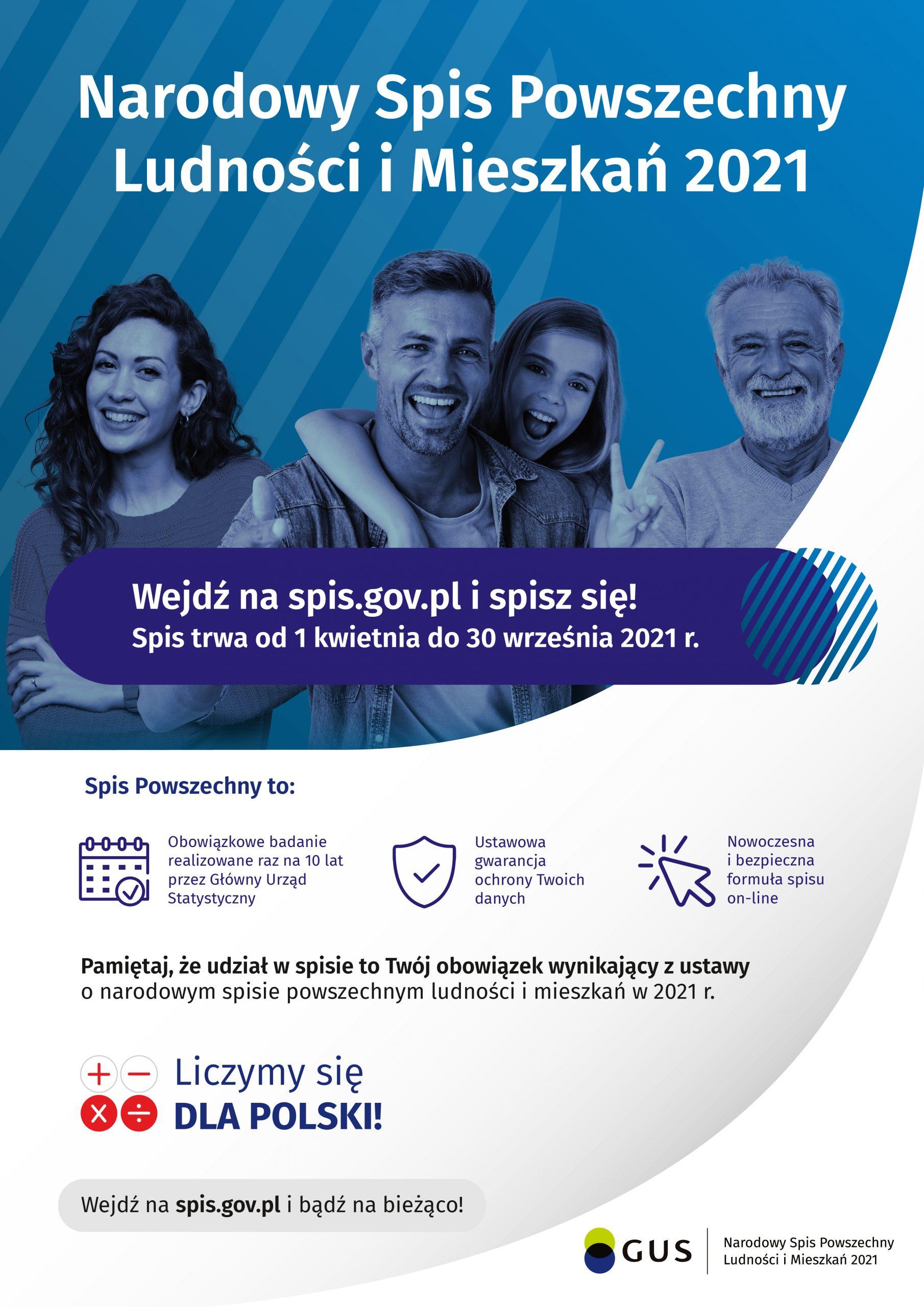 Plakat. Narodowy Spis Powszechny Ludności i Mieszkań 2021