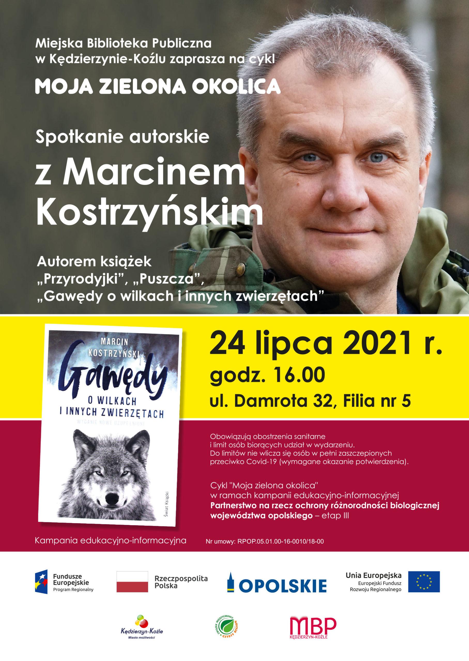 plakat na spotkanie z Marcinem Kostrzyńskim